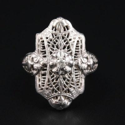 Vintage 10K White Gold Diamond Openwork Ring