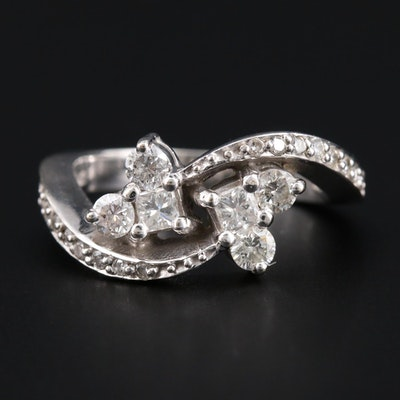 14K White Gold Diamond Heart Bypass Ring