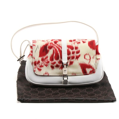 Gucci Piston Lock Shoulder Bag in Printed Canvas and White Leather
