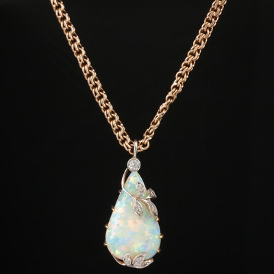 Victorian 18K, 14K and Platinum Opal and Diamond Pendant Necklace