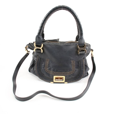 Chloé Medium Marcie Turn-Lock Satchel in Navy Blue Leather