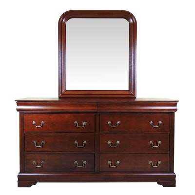 Mahogany Dresser with Mirror, Contemporary