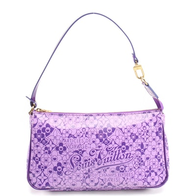 Louis Vuitton Limited Edition Cosmic Blossom Pochette in Violet Shiny Leather