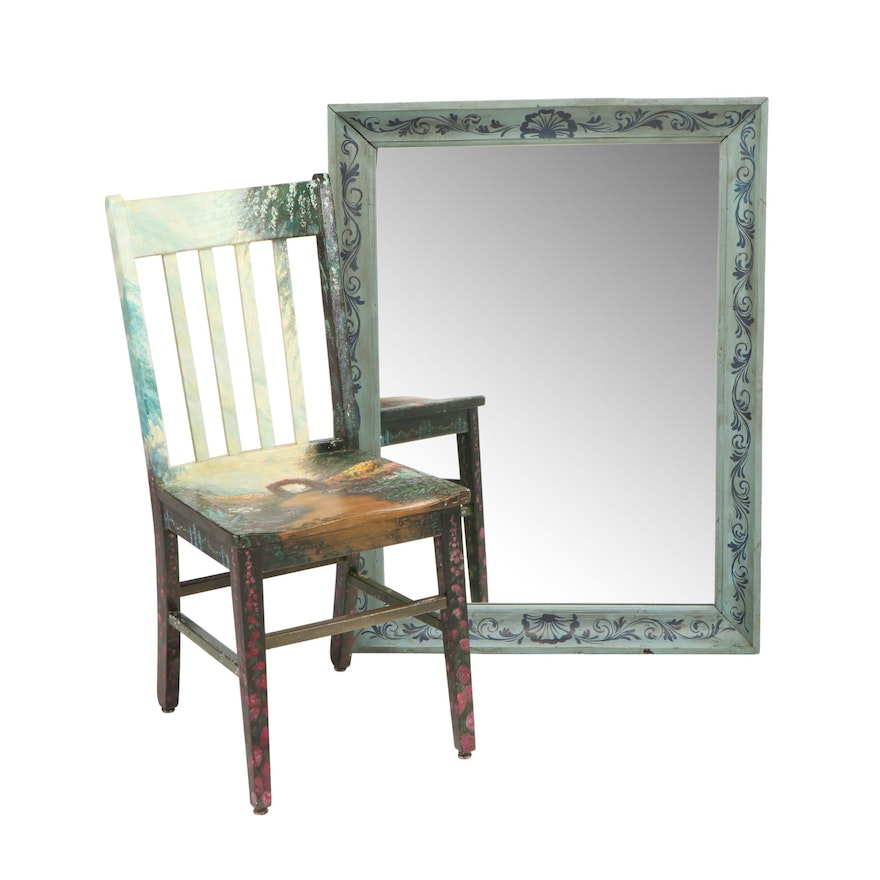Hand Painted Acrylic Side Chair and Decorative Wall Mirror