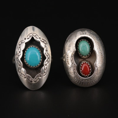 Southwestern Style Sterling Silver Rings with Turquoise and Coral