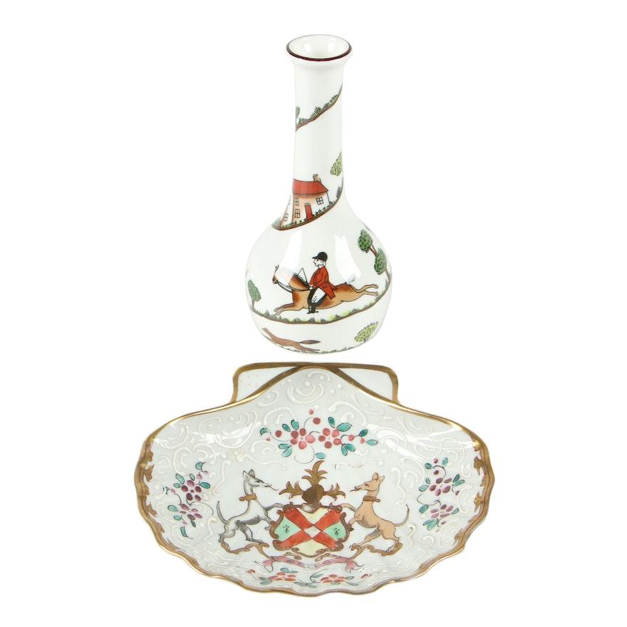 "Crown ""Hunting Scene"" Bone China Bud Vase with Limoges Porcelain Bowl"