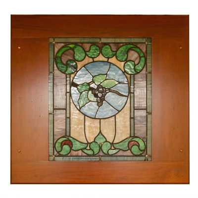 Stained Glass Window Panel in Hardwood Frame