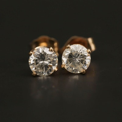 14K Yellow Gold 0.64 CTW Diamond Solitaire Stud Earrings