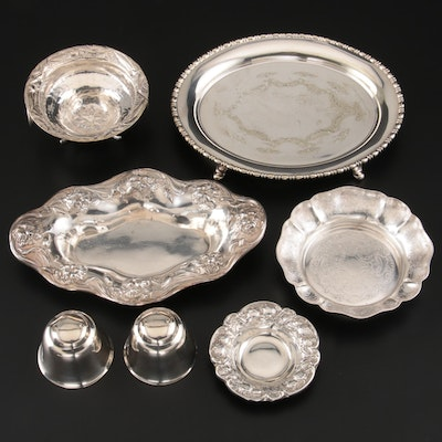 Mauser Sterling Silver Butter Pat with Other Silver Plate Serveware