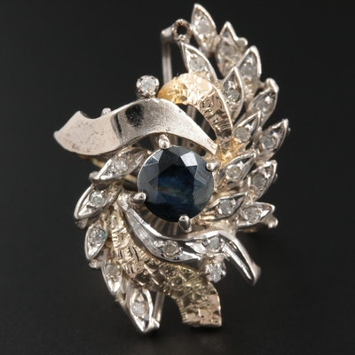 Vintage 10K White Gold and Sapphire and Diamond Ring