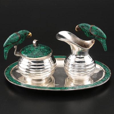 Los Fajardo Malachite Inlaid Silver Plate Cream and Sugar Set with Parrot Motif