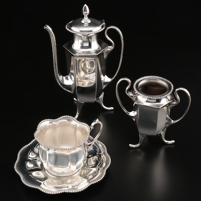 James Tufts Silver Plate Teapot and Sugar Bowl with Wilcox Teacup and Saucer