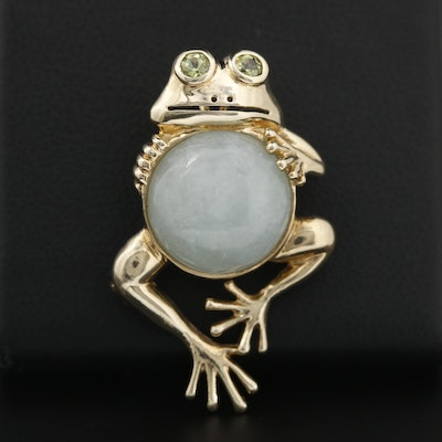 10K Yellow Gold Jadeite and Peridot Frog Converter Brooch