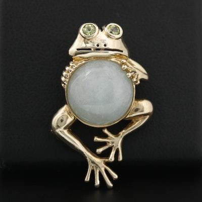 10K Yellow Gold Jadeite and Peridot Frog Converter Brooch