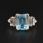 14K Yellow Gold Topaz, Aquamarine and Diamond Ring