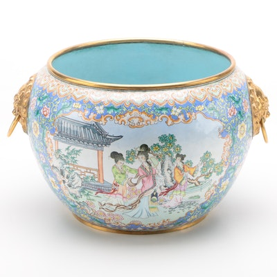 Chinese Enameled Metal Fish Bowl Jardiniere with Dragon Ring Handles