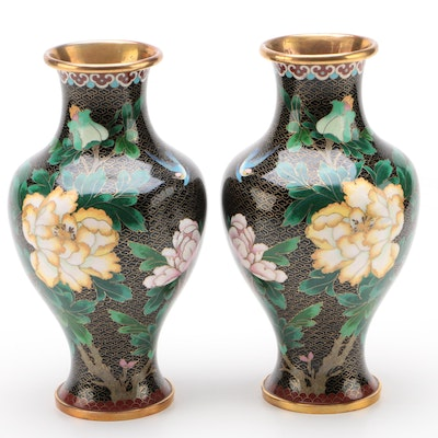 Pair of Chinese Cloisonné Enamel Vases, Late 20th Century