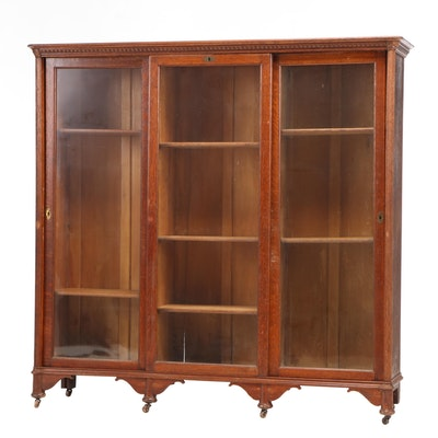 Late Victorian Oak Sliding Triple-Door Bookcase, Late 19th/Early 20th Century