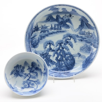 Japanese Blue and White Arita Porcelain Bowls with Mountain Scenes