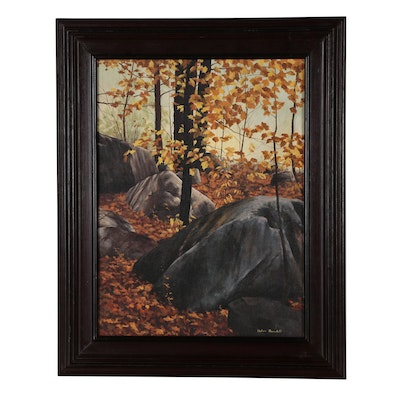 Helen Rundell Acrylic Painting of Autumn Forest