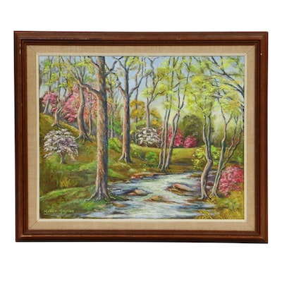 Madge Smythe Forest Creek Landscape Oil Painting, Mid to Late 20th Century