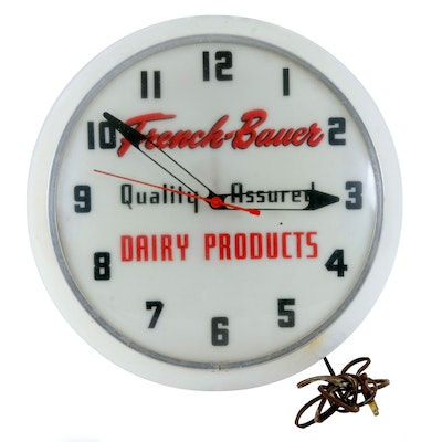 French-Bauer Dairy Products Illuminated Wall Clock, Vintage