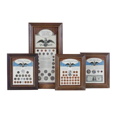 """United States Framed Coin Sets Including """"The Silver Story"""" & """"Wartime Coinage"""""""