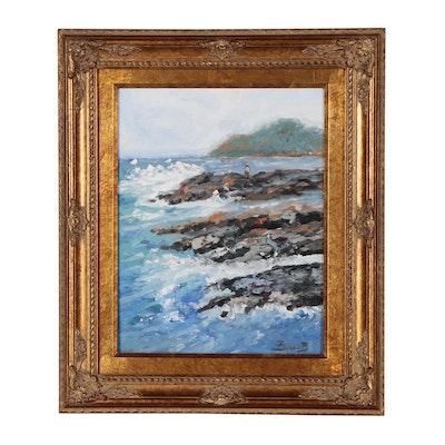 """Barbara D. Bonar Oil Painting """"Blue Mountain Beach"""""""
