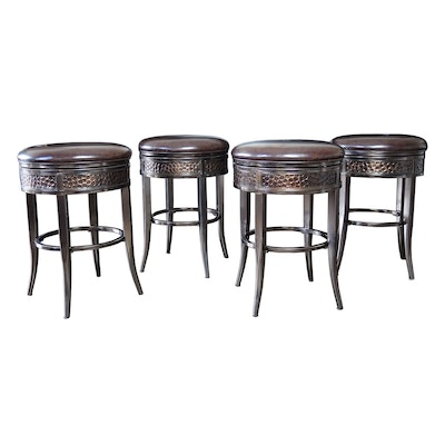 Metal and Faux Leather Barstools with Hammered Copper Accents