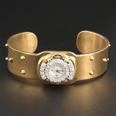 18K Yellow Gold Cuff Bracelet with Hamilton 14K White Gold Diamond Wristwatch