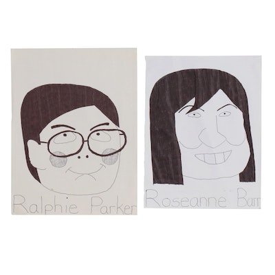 "Aaron Evans Ink Drawings ""Ralphie Parker"" and ""Roseanne Barr"""