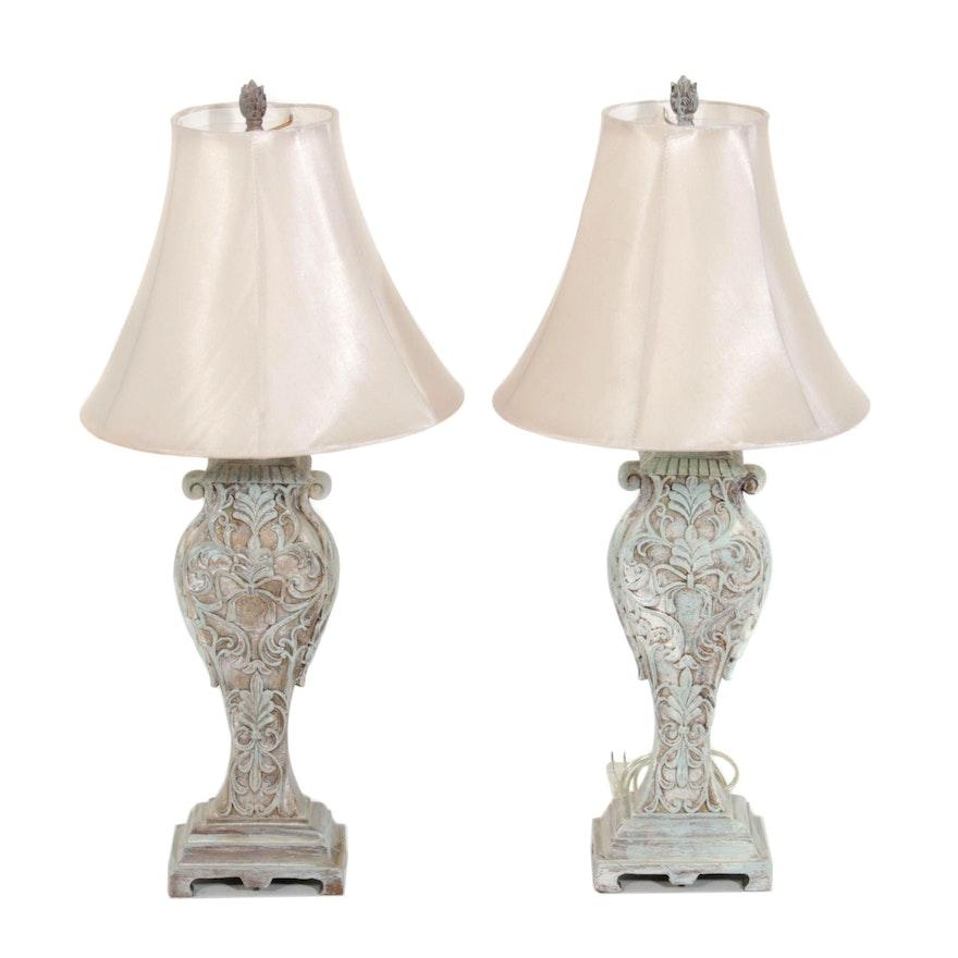 Wood and Plaster Foliate Motif Table Lamps