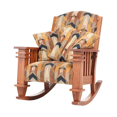 Mission Style Oak Upholstered Rocking Chair, Late 20th Century