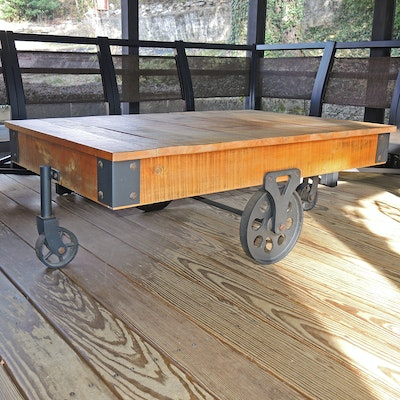 Wooden Plank Top Industrial Cart Coffee Table