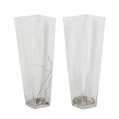 Glass Floor Vases, Contemporary