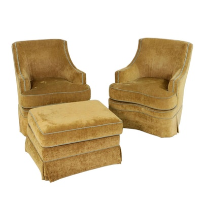 Highland House Velveteen Swivel Accent Chair with Ottoman, Contemporary