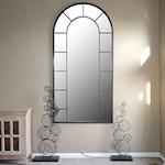 Windowpane Metal Wall Mirror and Metal Sculptures