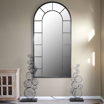 Windowpane Metal Wall Mirror and Metal Sculptures