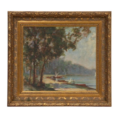Impressionist Style Landscape Oil Painting, Early 20th Century