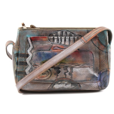 Jane Yoo Wearable Art Hand-Painted Leather Shoulder Bag