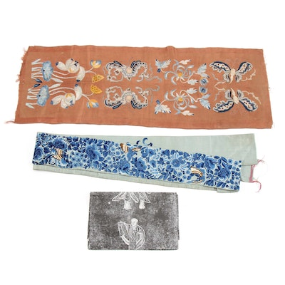 Chinese Hand Embroidered Silk Sleeve Panels and Embroidery Pattern, circa 1910