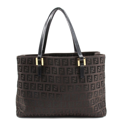Fendi Shoulder Tote in Dark Brown Zucchino Canvas and Leather