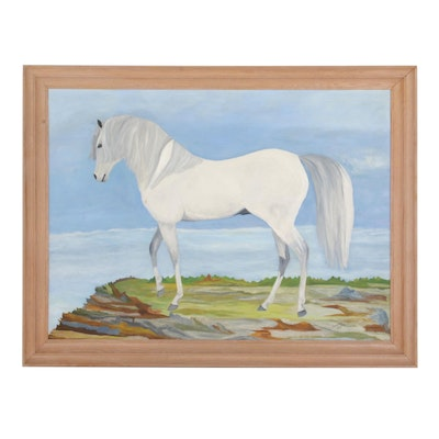 Frances Metz White Arabian Horse Oil Painting, Mid to Late 20th Century