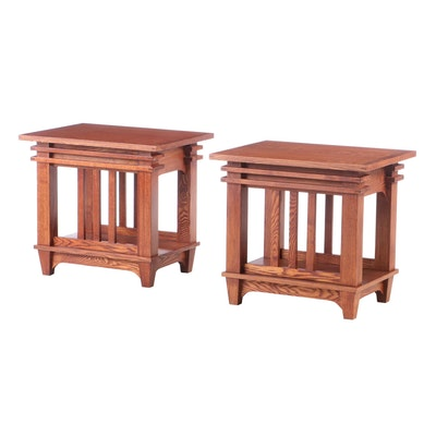 Mission Style Oak End Tables, Late 20th Century