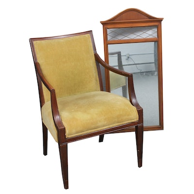 Federal Style Mahogany Open Arm Chair and Wall Mirror, Mid to Late 20th C.