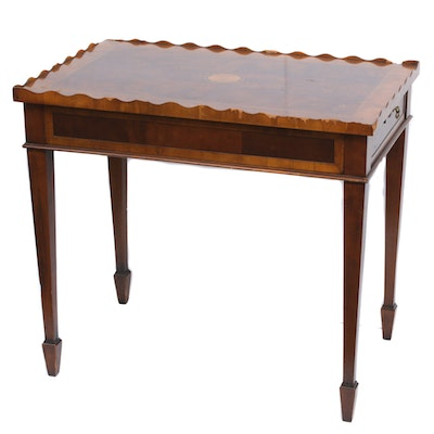 """Hekman """"Copley Place"""" Federal Style Inlaid Mahogany Side Table, Late 20th C."""