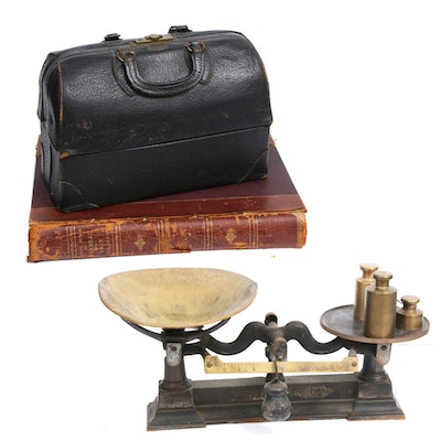 Schell Emdee Doctor Bag with Scale and Book on Venereal and Skin Diseases, 1889
