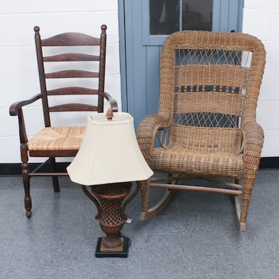 Late Victorian Brown Wicker Rocking Arm Chair, Ladderback Chair, and Table Lamp