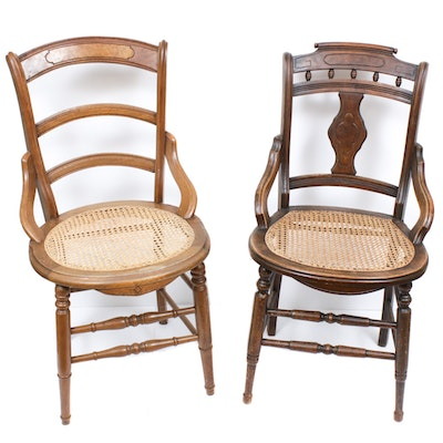 Two Victorian Caned Seat Side Chairs, Late 19th Century