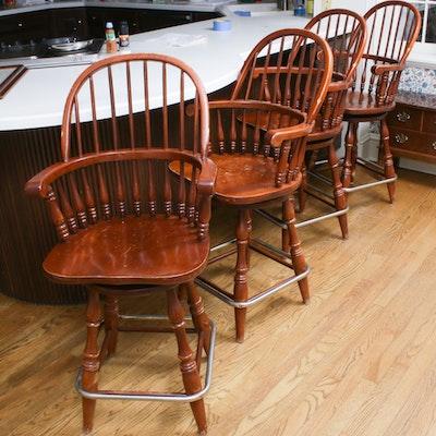 Virginia House Bar Stools with Swivel Return, Late 20th Century